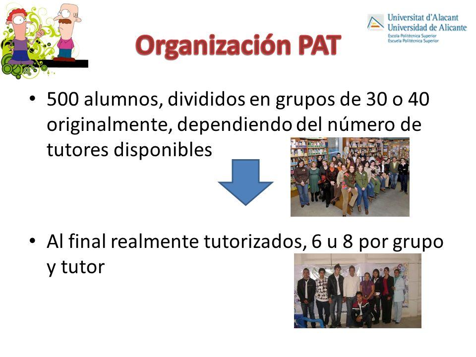 Organización PAT 500 alumnos, divididos en grupos de 30 o 40 originalmente, dependiendo del número de tutores disponibles.