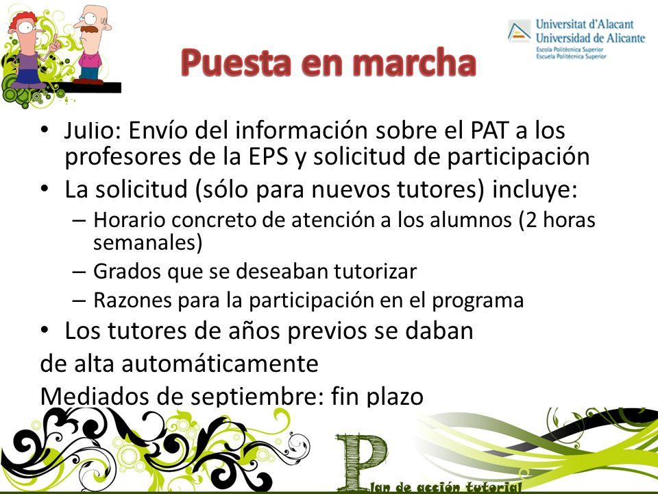Puesta en marcha Julio: Envío del información sobre el PAT a los profesores de la EPS y solicitud de participación.