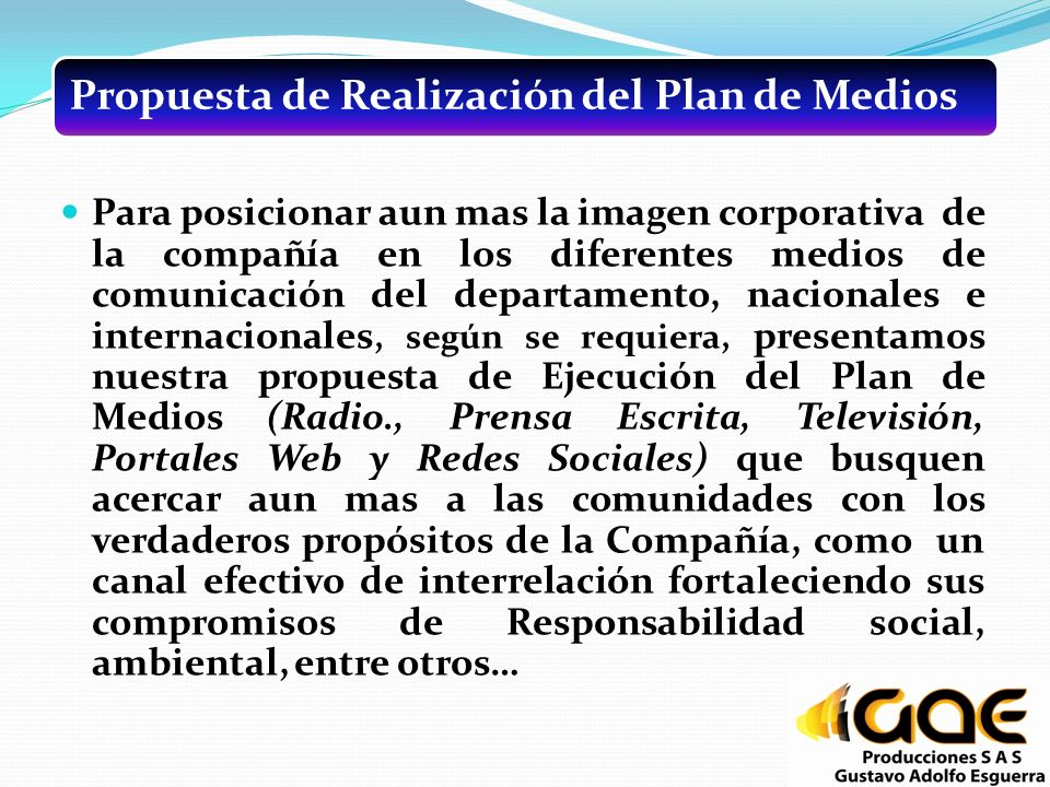 Propuesta de Realización del Plan de Medios