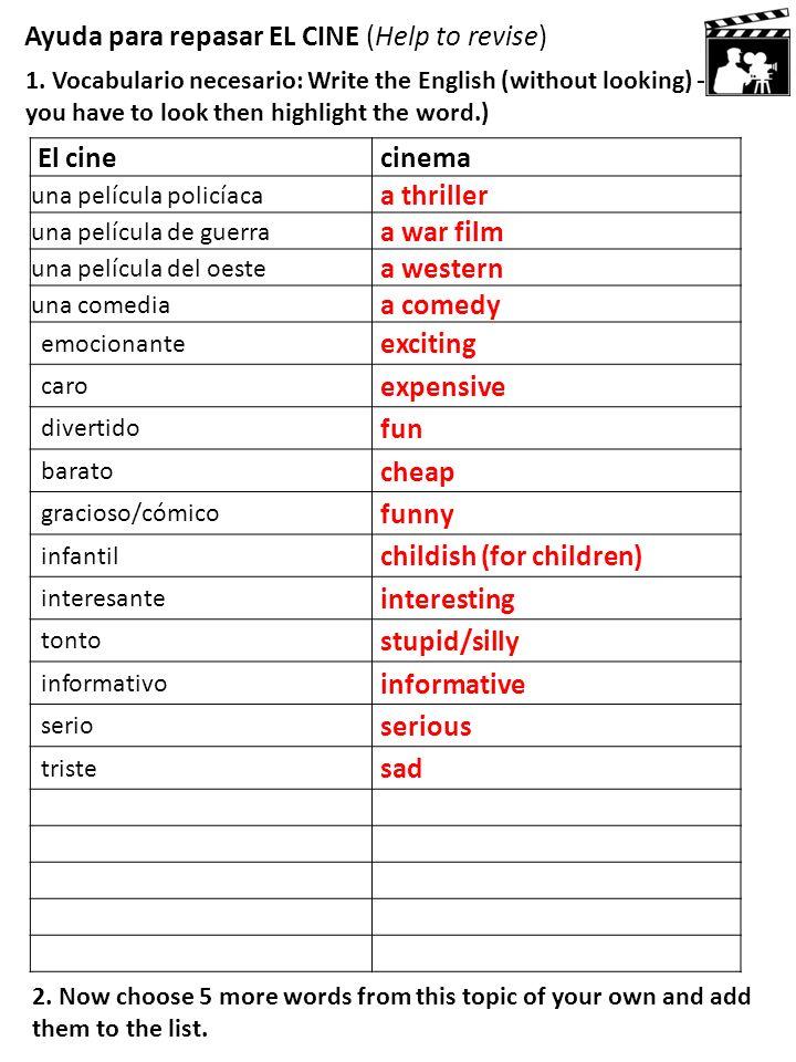 Ayuda para repasar EL CINE (Help to revise)