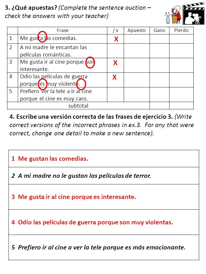 3. ¿Qué apuestas (Complete the sentence auction – check the answers with your teacher)