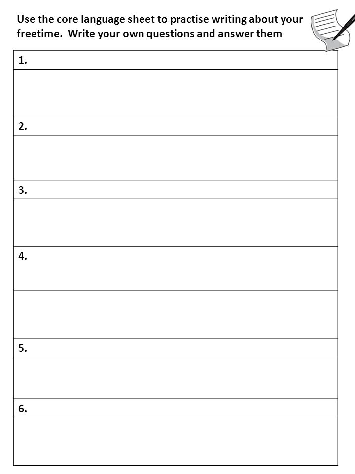 Use the core language sheet to practise writing about your freetime