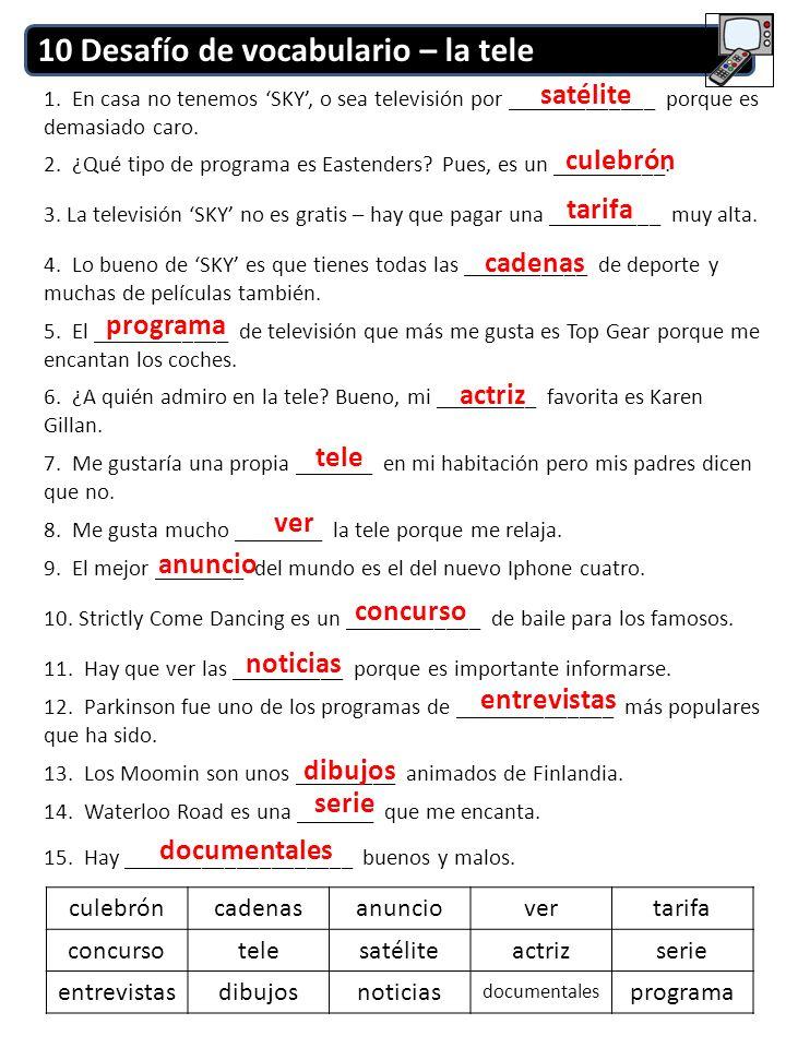 10 Desafío de vocabulario – la tele