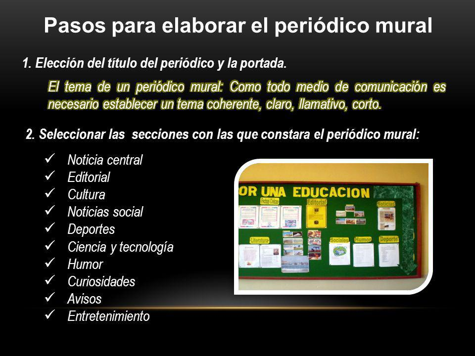 Escuela secundaria t cnica ppt video online descargar for Como elaborar un periodico mural escolar