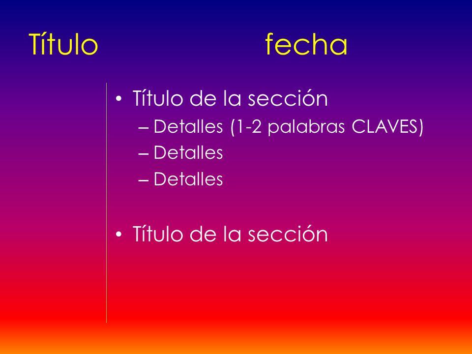 Título fecha Título de la sección Detalles (1-2 palabras CLAVES)