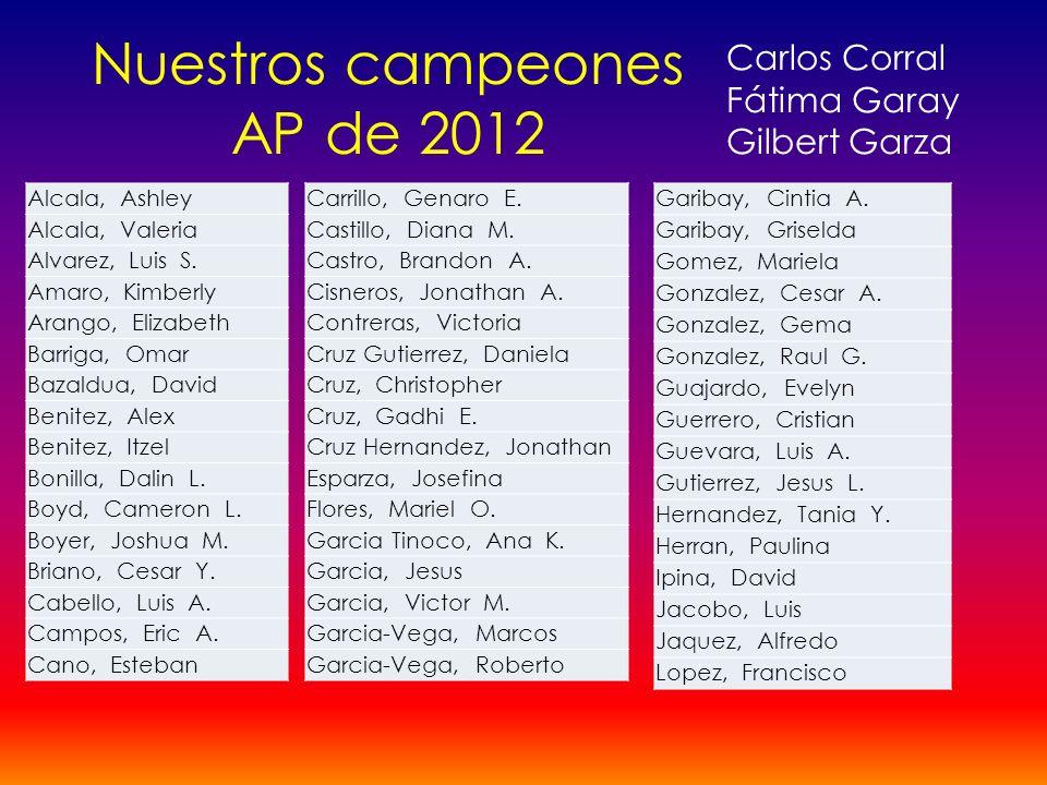 Nuestros campeones AP de 2012