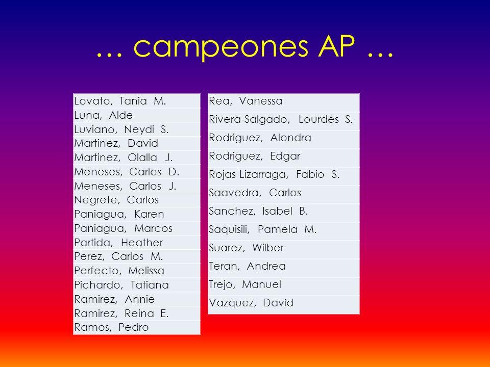 … campeones AP … Lovato, Tania M. Luna, Alde Luviano, Neydi S.