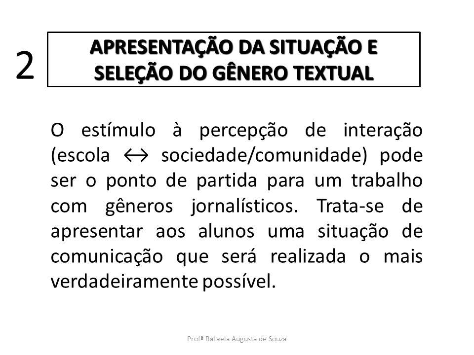 APRESENTAÇÃO DA SITUAÇÃO E SELEÇÃO DO GÊNERO TEXTUAL