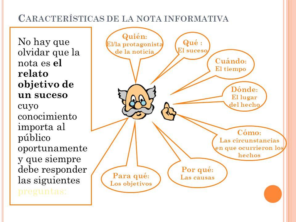 Características de la nota informativa