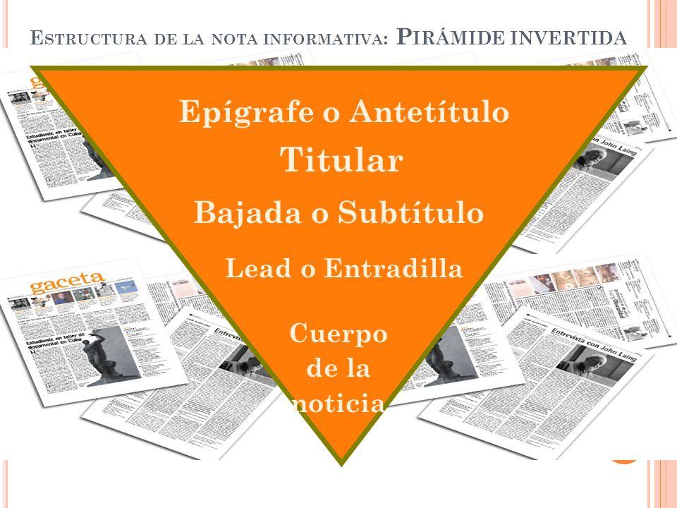 Estructura de la nota informativa: Pirámide invertida