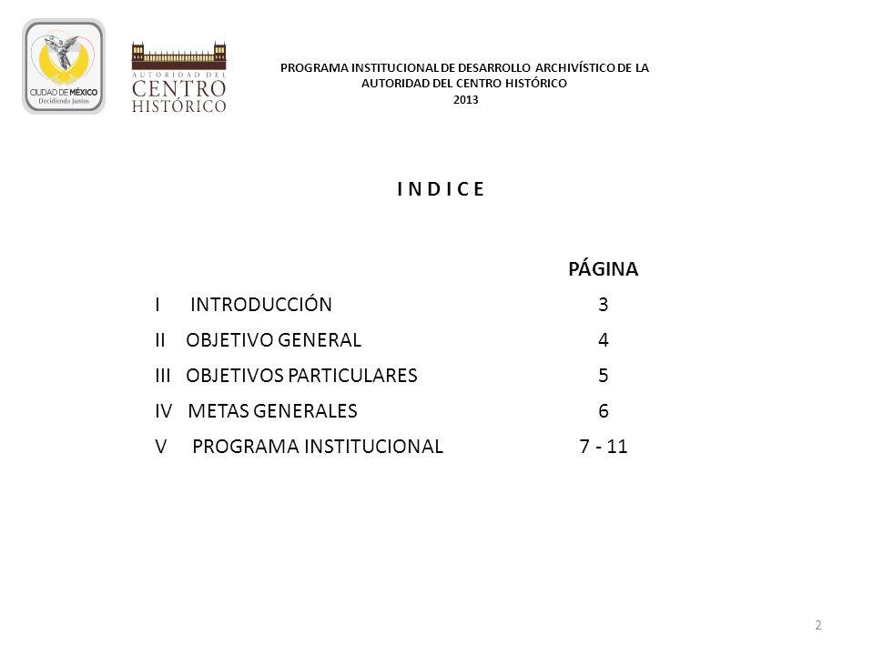 III OBJETIVOS PARTICULARES 5 IV METAS GENERALES 6
