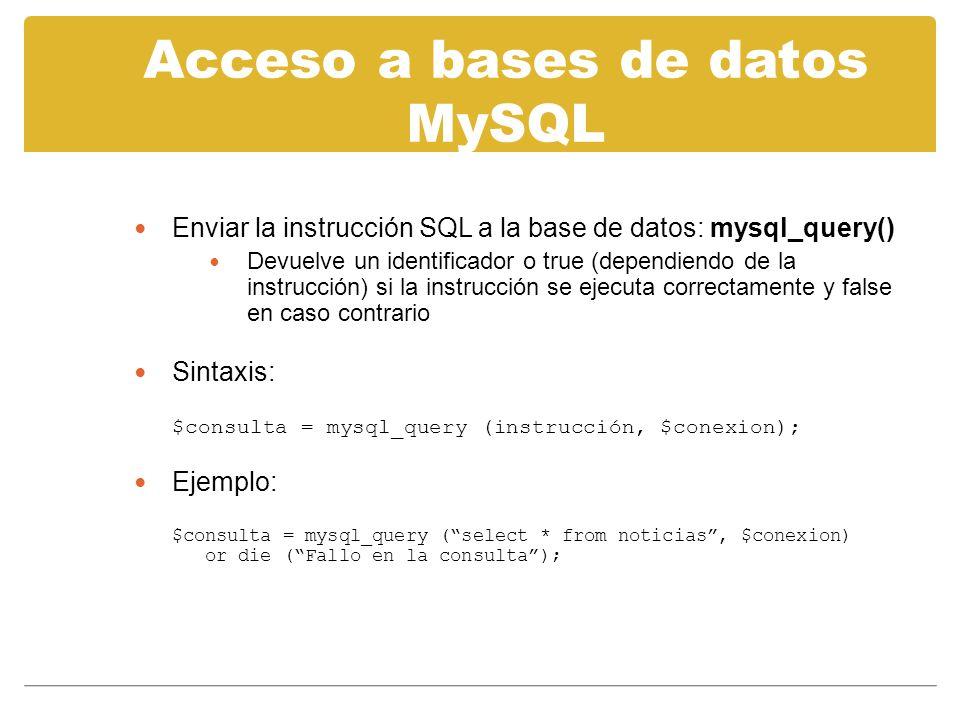 Acceso a bases de datos MySQL