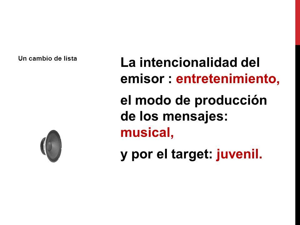 Un cambio de lista La intencionalidad del emisor : entretenimiento, el modo de producción de los mensajes: musical, y por el target: juvenil.