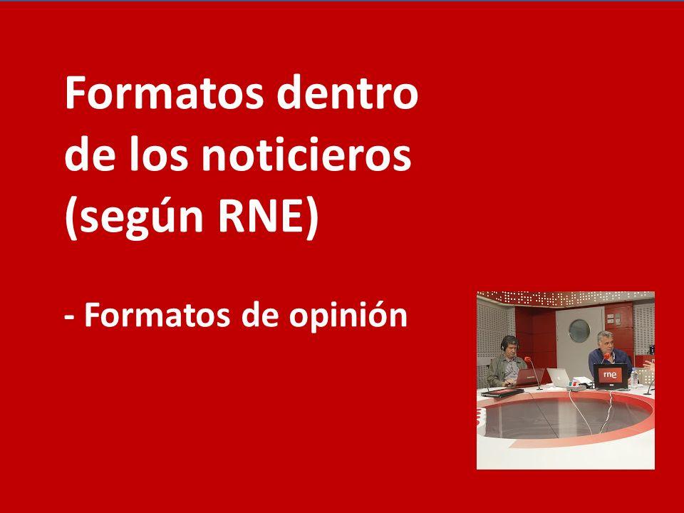 Formatos dentro de los noticieros (según RNE)