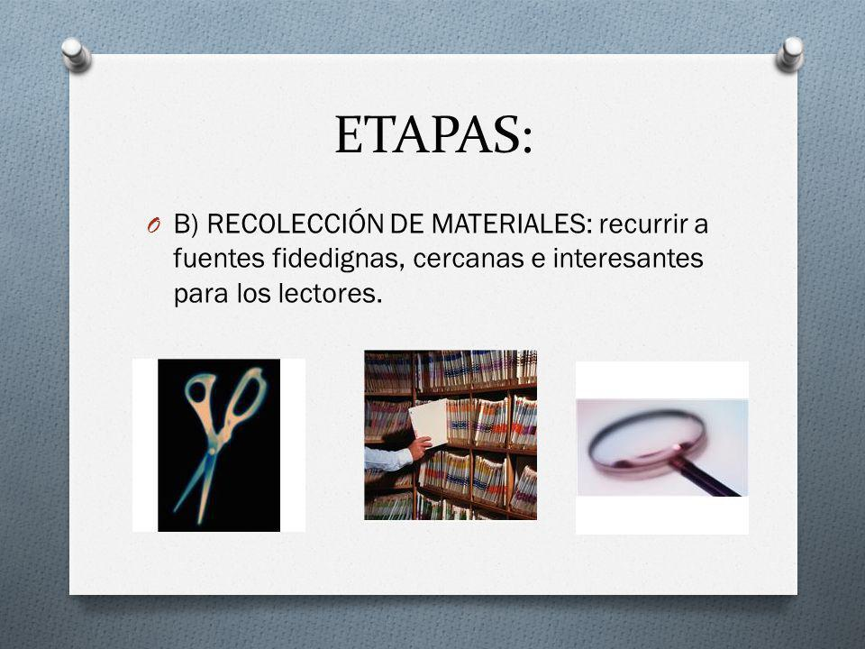 ETAPAS: B) RECOLECCIÓN DE MATERIALES: recurrir a fuentes fidedignas, cercanas e interesantes para los lectores.