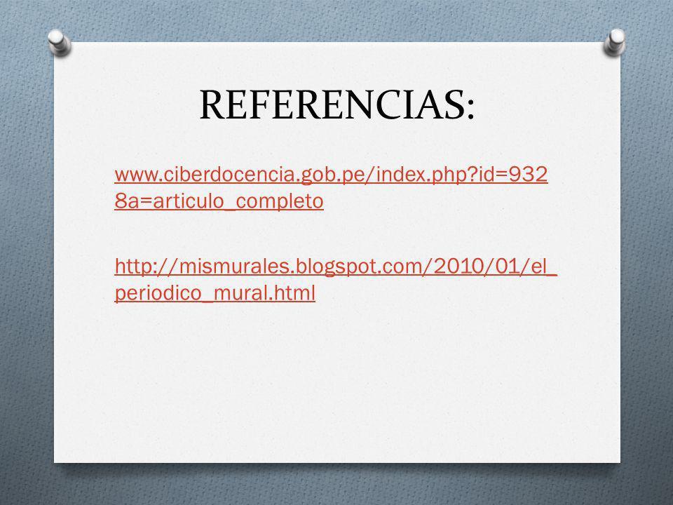 REFERENCIAS: www.ciberdocencia.gob.pe/index.php id=9328a=articulo_completo http://mismurales.blogspot.com/2010/01/el_periodico_mural.html