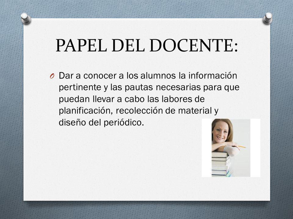 PAPEL DEL DOCENTE: