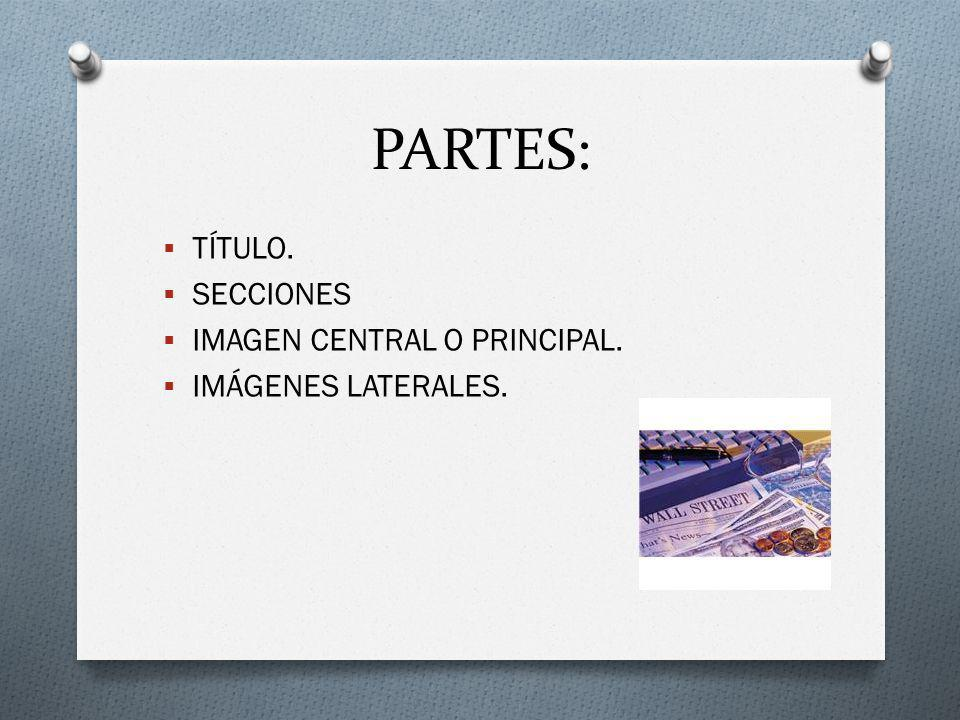 PARTES: TÍTULO. SECCIONES IMAGEN CENTRAL O PRINCIPAL.