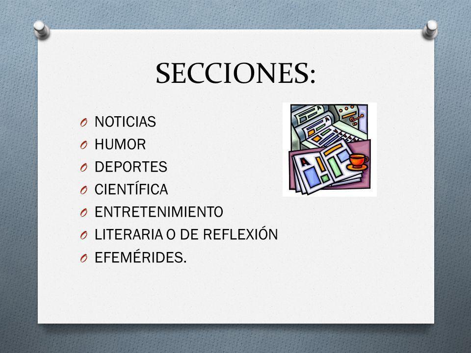 SECCIONES: NOTICIAS HUMOR DEPORTES CIENTÍFICA ENTRETENIMIENTO