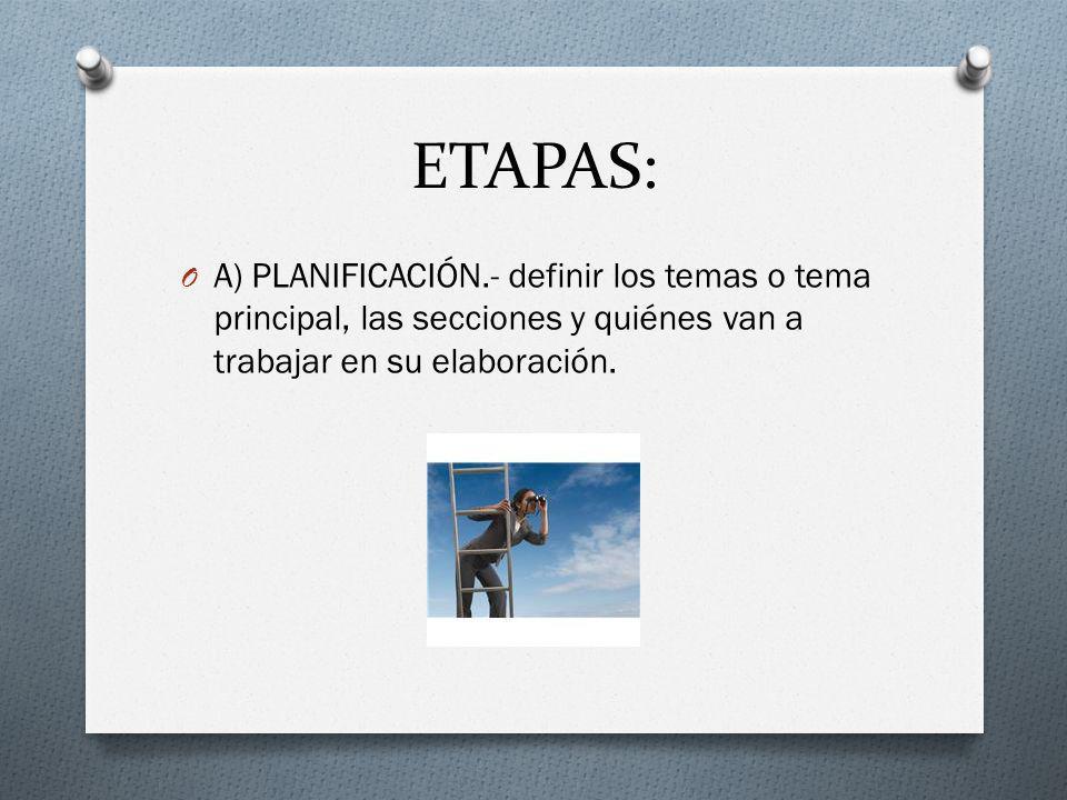 ETAPAS: A) PLANIFICACIÓN.- definir los temas o tema principal, las secciones y quiénes van a trabajar en su elaboración.