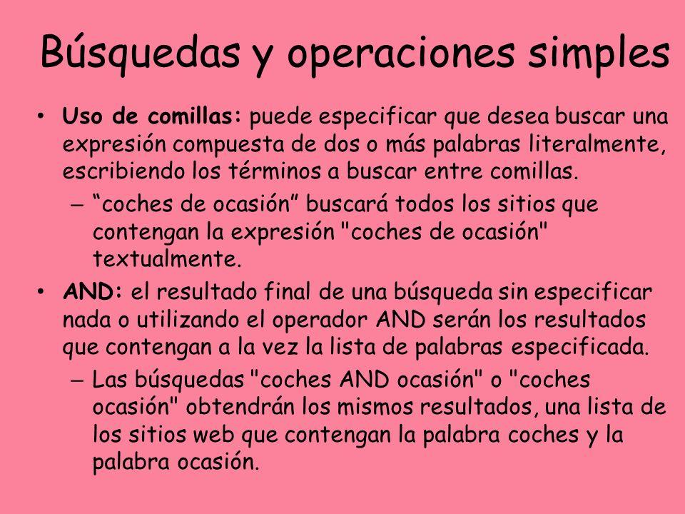 Búsquedas y operaciones simples