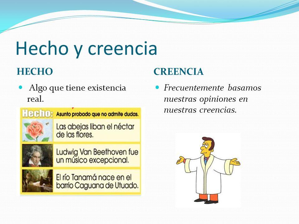 Hecho y creencia HECHO CREENCIA Algo que tiene existencia real.