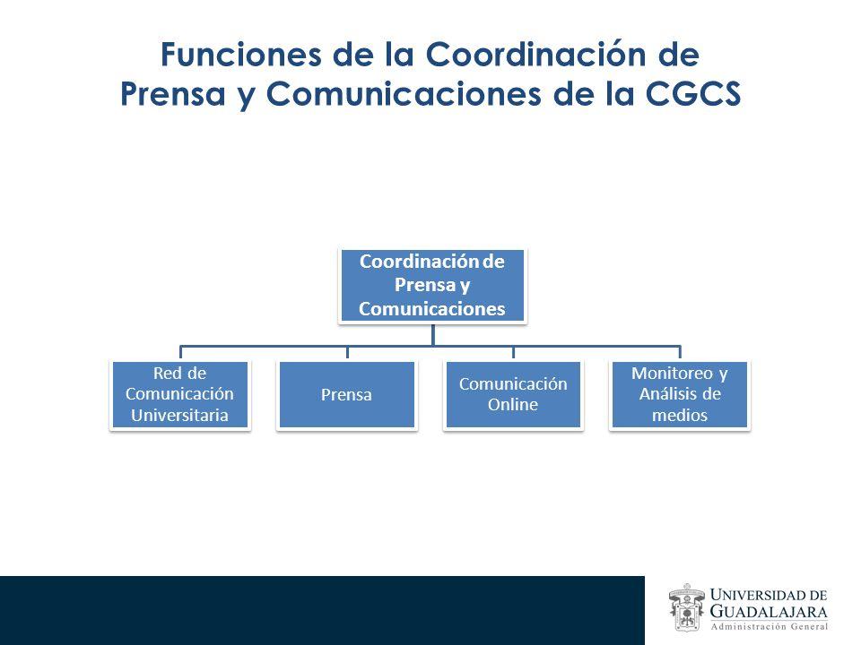 Funciones de la Coordinación de Prensa y Comunicaciones de la CGCS