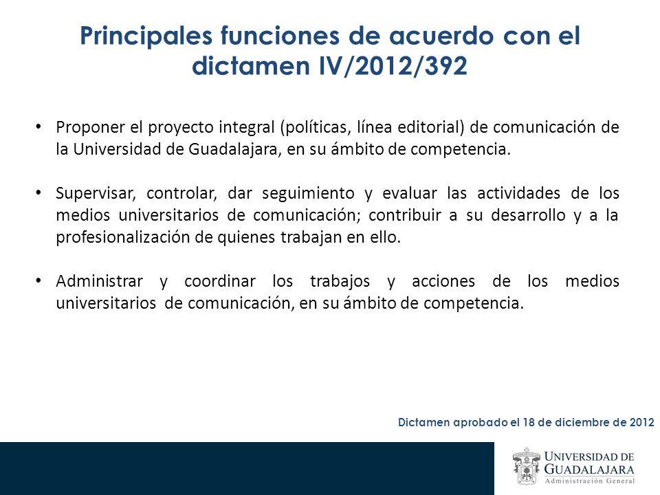 Principales funciones de acuerdo con el dictamen IV/2012/392