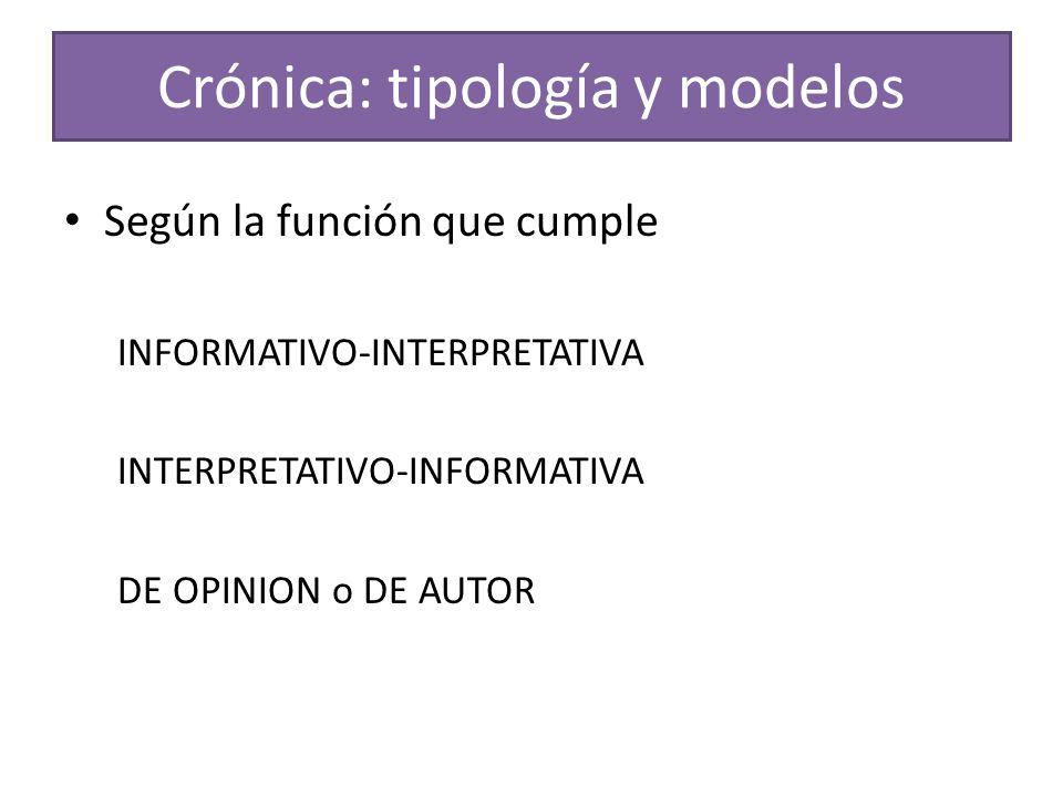 Crónica: tipología y modelos