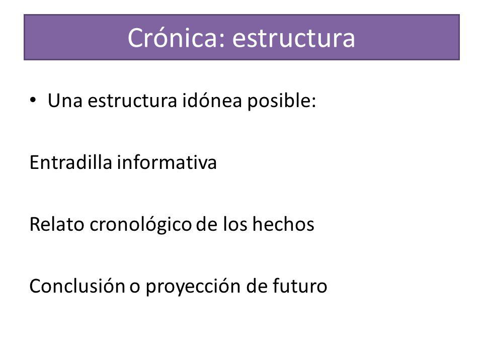 Crónica: estructura Una estructura idónea posible: