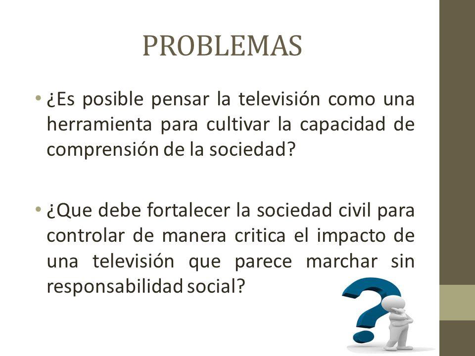 PROBLEMAS ¿Es posible pensar la televisión como una herramienta para cultivar la capacidad de comprensión de la sociedad