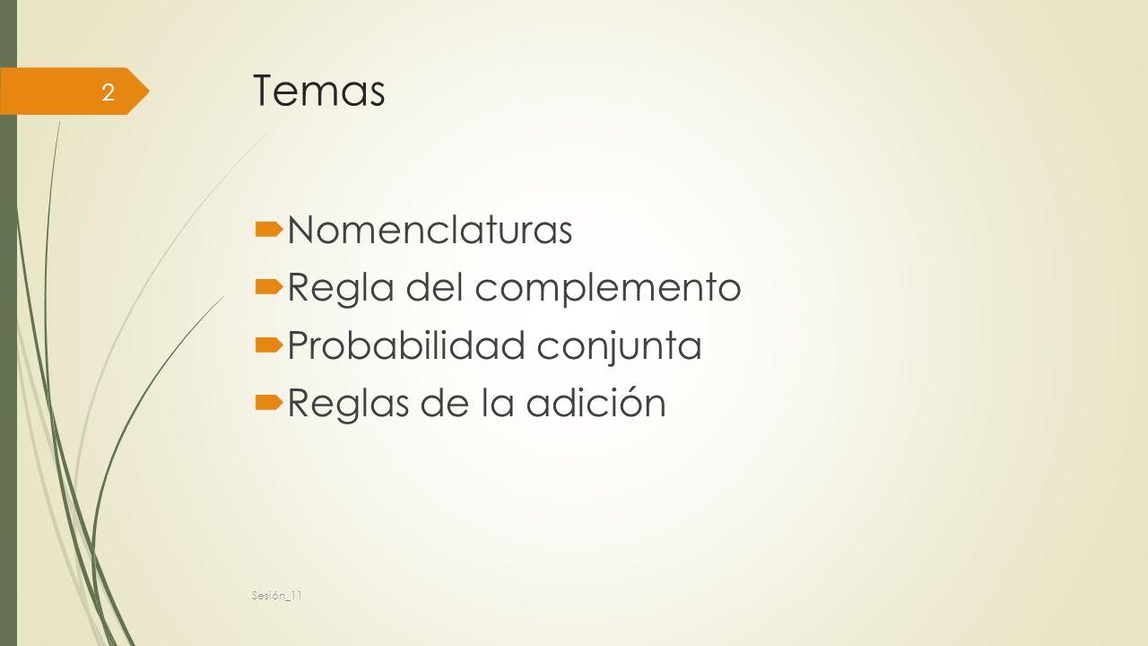Temas Nomenclaturas Regla del complemento Probabilidad conjunta