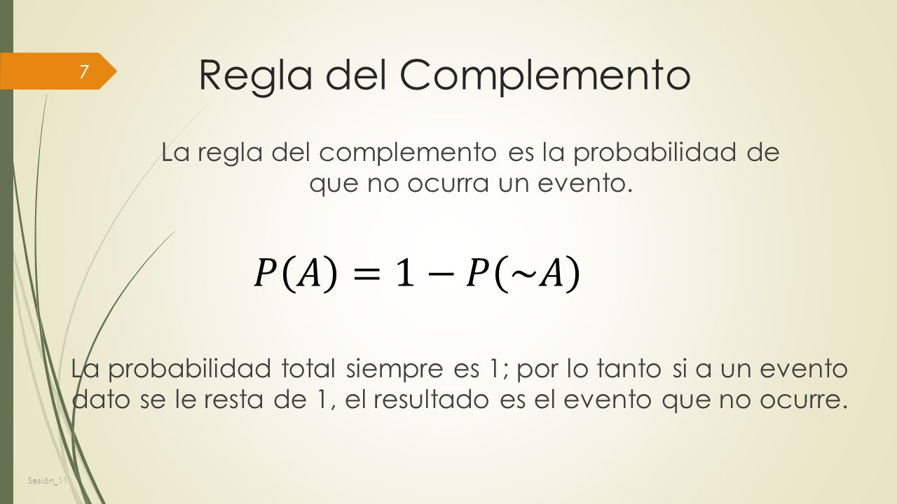 Regla del Complemento 𝑃 𝐴 =1−𝑃 ~𝐴