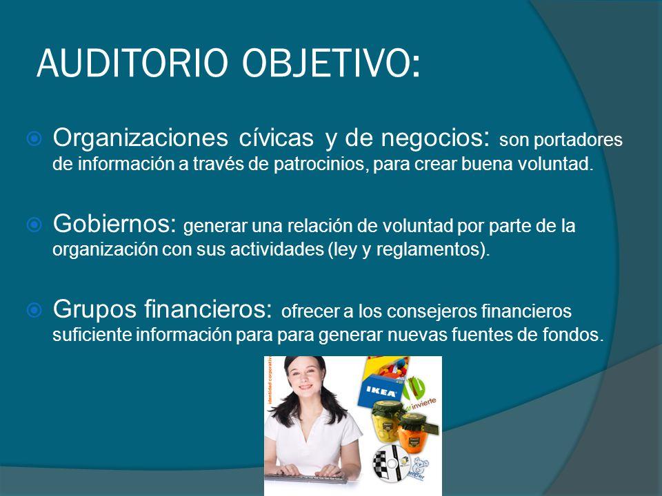 AUDITORIO OBJETIVO: Organizaciones cívicas y de negocios: son portadores de información a través de patrocinios, para crear buena voluntad.