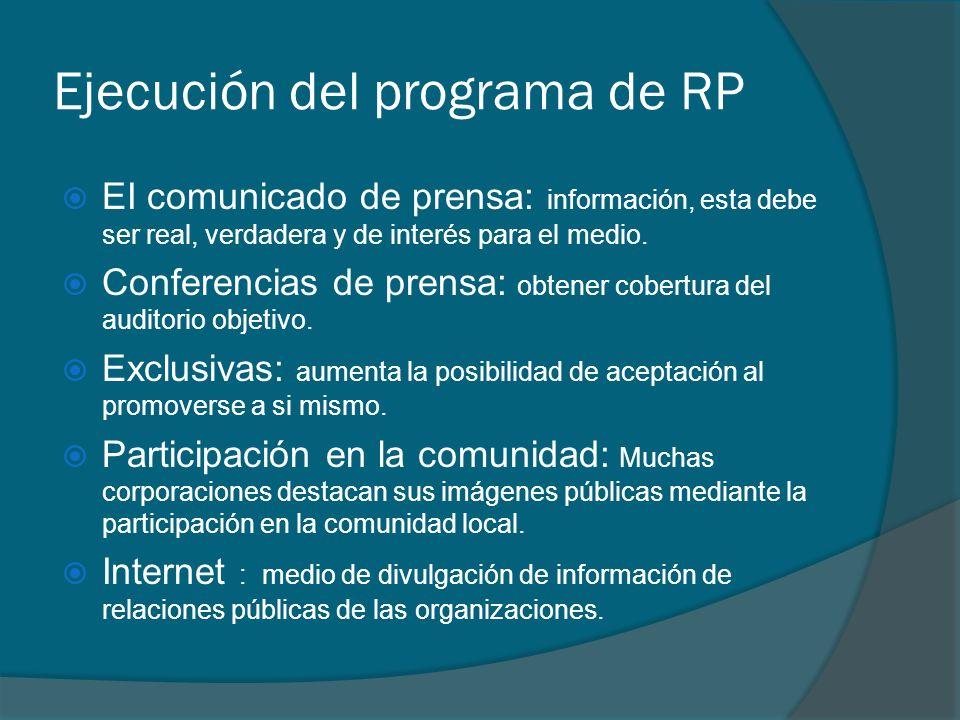 Ejecución del programa de RP