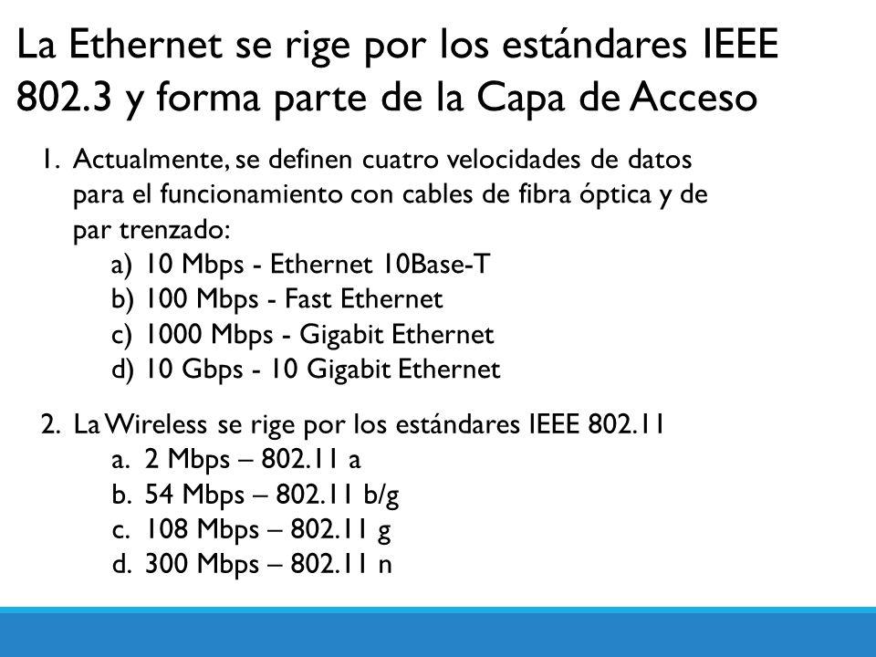 La Ethernet se rige por los estándares IEEE 802