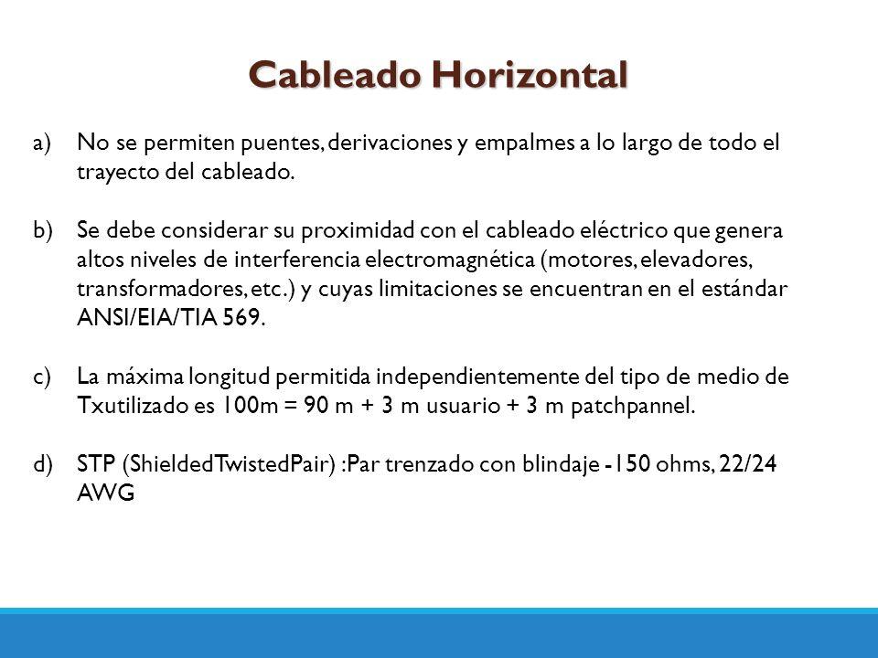 Cableado Horizontal No se permiten puentes, derivaciones y empalmes a lo largo de todo el trayecto del cableado.