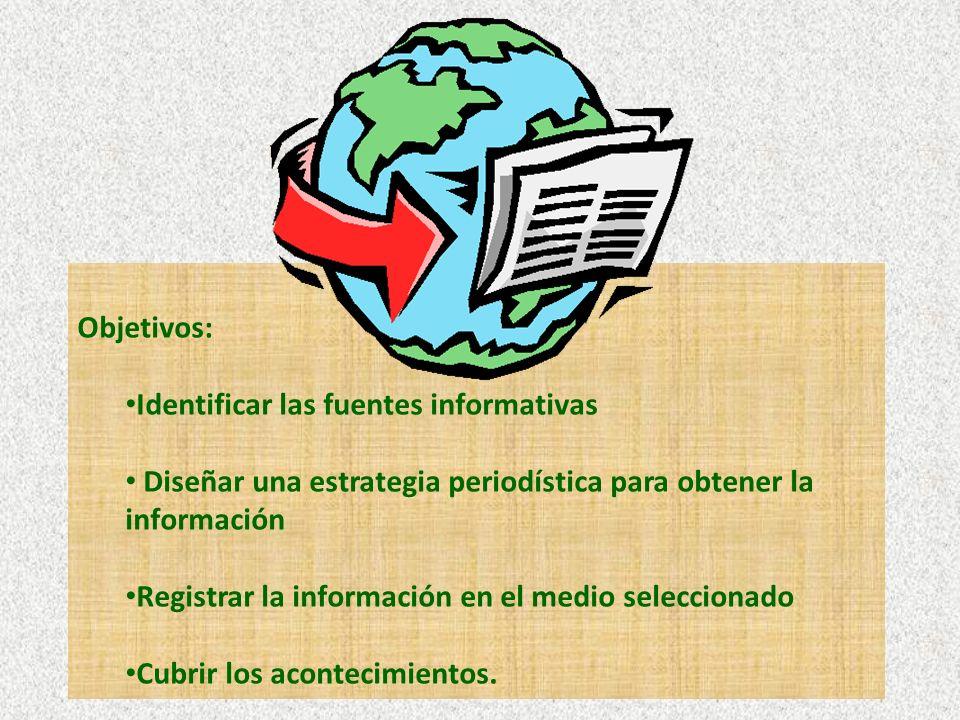 Objetivos: Identificar las fuentes informativas. Diseñar una estrategia periodística para obtener la información.