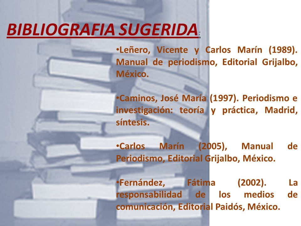 BIBLIOGRAFIA SUGERIDA: