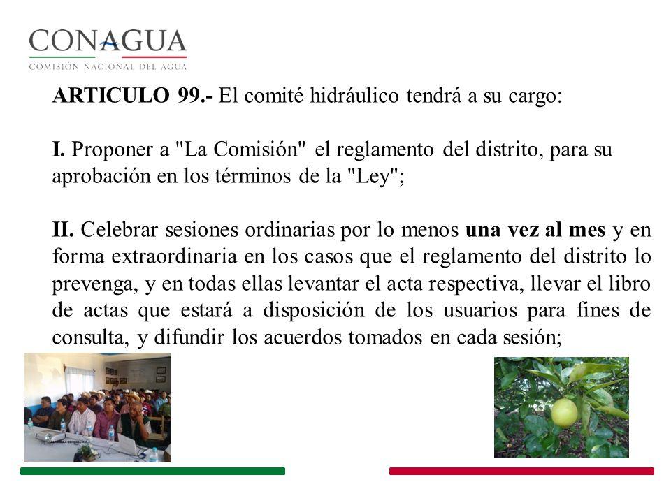 ARTICULO 99.- El comité hidráulico tendrá a su cargo: