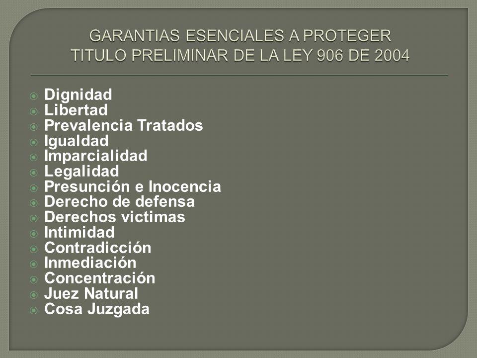 GARANTIAS ESENCIALES A PROTEGER TITULO PRELIMINAR DE LA LEY 906 DE 2004