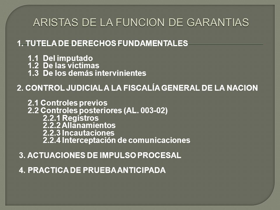 ARISTAS DE LA FUNCION DE GARANTIAS
