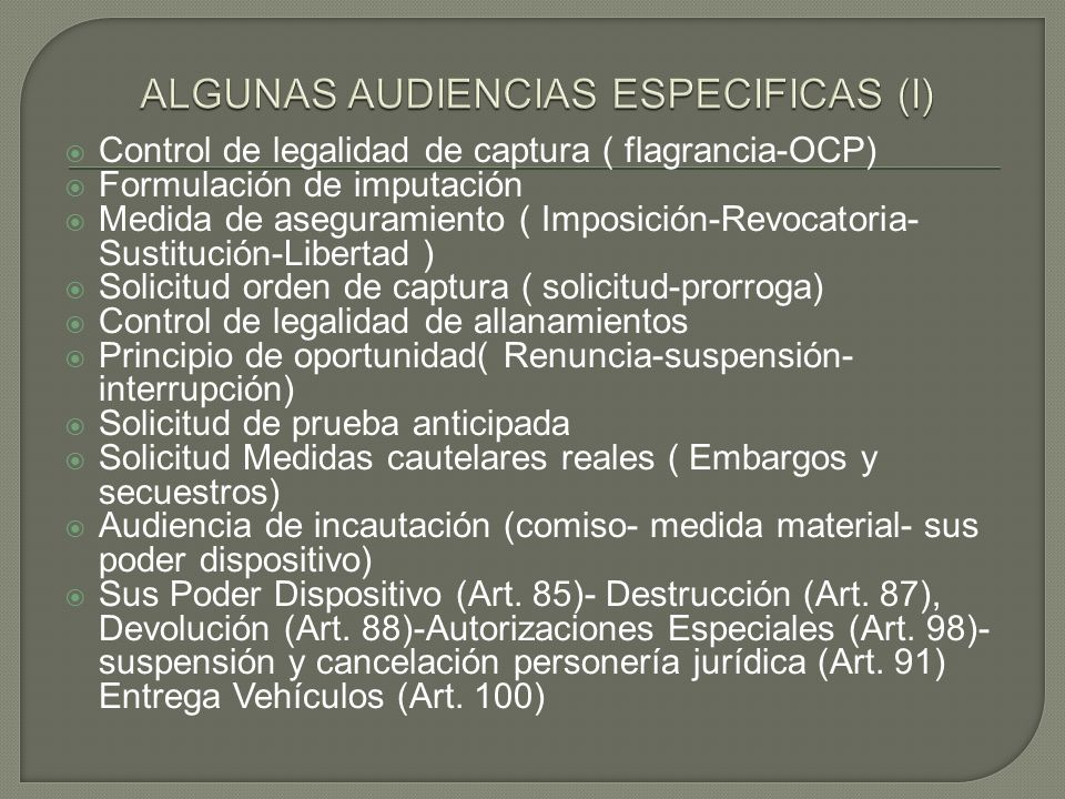 ALGUNAS AUDIENCIAS ESPECIFICAS (I)