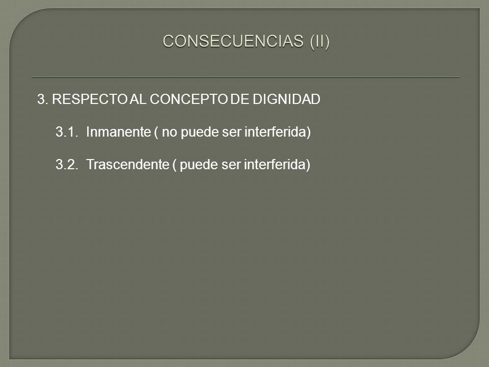 CONSECUENCIAS (II) 3. RESPECTO AL CONCEPTO DE DIGNIDAD 3.1.