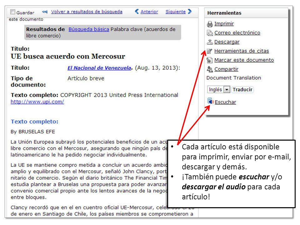 Cada artículo está disponible para imprimir, enviar por e-mail, descargar y demás.