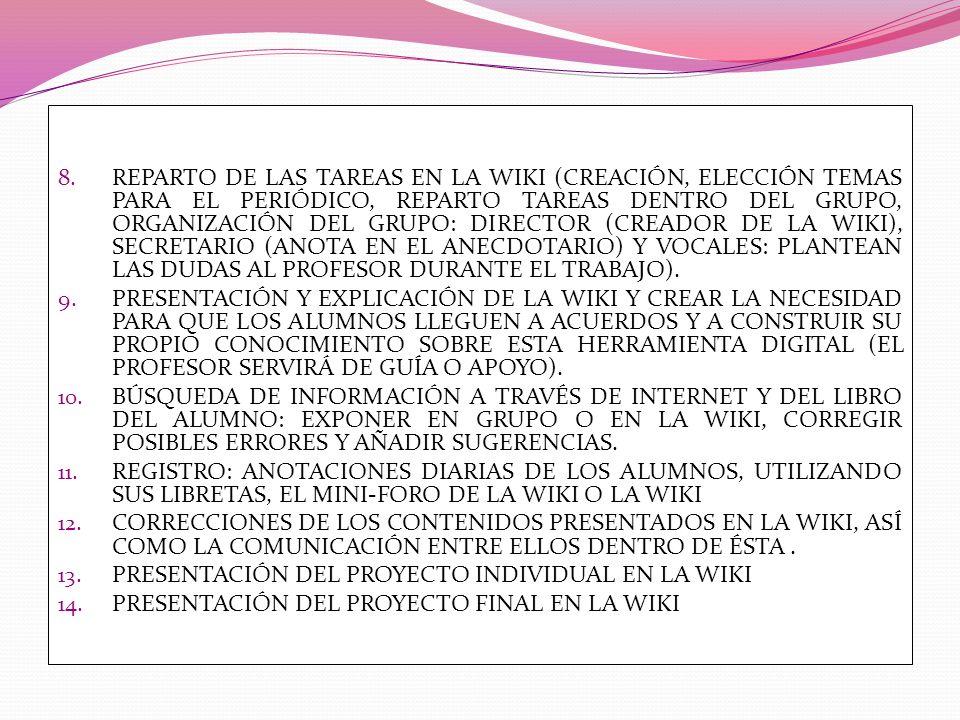REPARTO DE LAS TAREAS EN LA WIKI (CREACIÓN, ELECCIÓN TEMAS PARA EL PERIÓDICO, REPARTO TAREAS DENTRO DEL GRUPO, ORGANIZACIÓN DEL GRUPO: DIRECTOR (CREADOR DE LA WIKI), SECRETARIO (ANOTA EN EL ANECDOTARIO) Y VOCALES: PLANTEAN LAS DUDAS AL PROFESOR DURANTE EL TRABAJO).