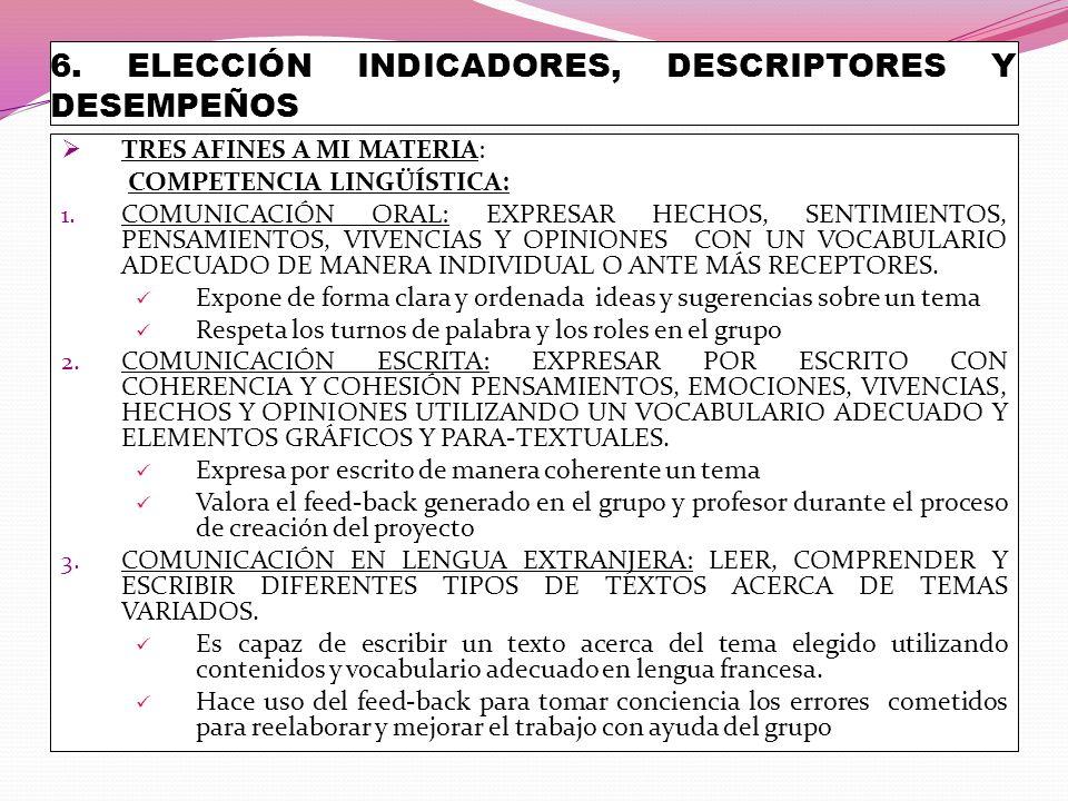 6. ELECCIÓN INDICADORES, DESCRIPTORES Y DESEMPEÑOS