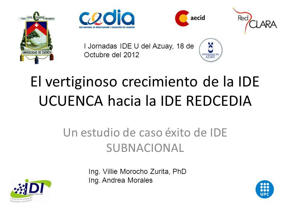 El vertiginoso crecimiento de la IDE UCUENCA hacia la IDE REDCEDIA