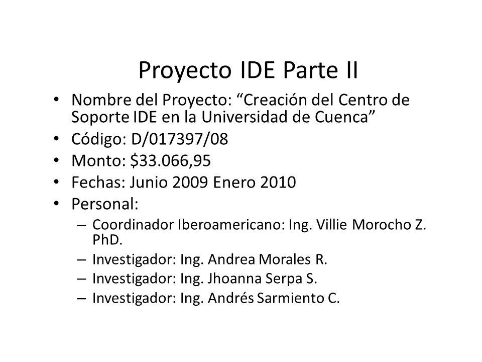 Proyecto IDE Parte II Nombre del Proyecto: Creación del Centro de Soporte IDE en la Universidad de Cuenca