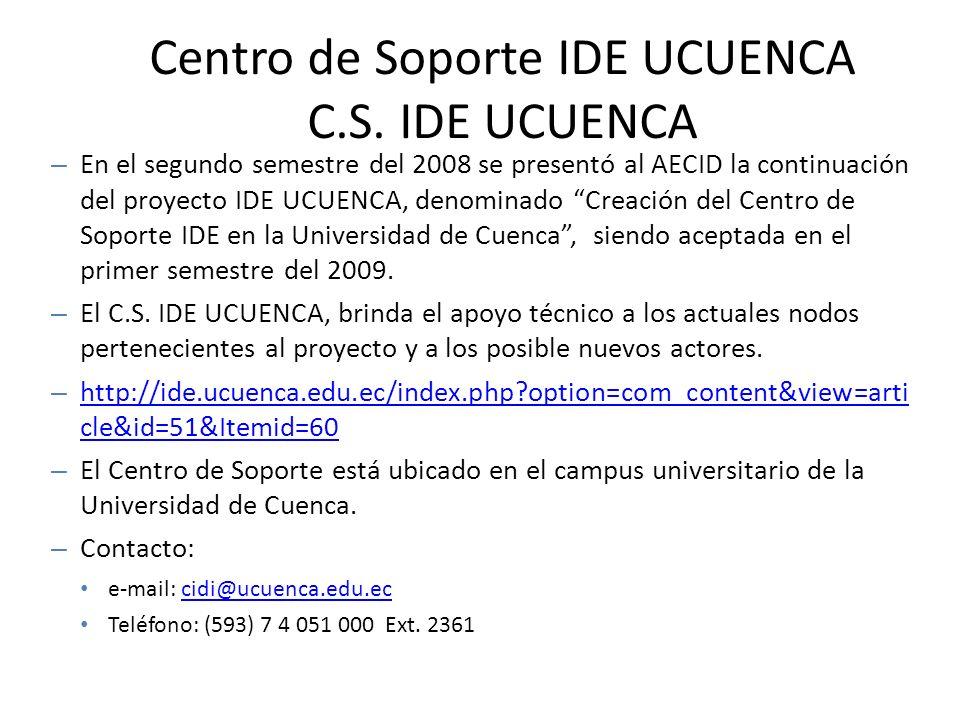 Centro de Soporte IDE UCUENCA C.S. IDE UCUENCA